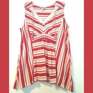 XL Vintage America Striped Sleeveless Tassel Top